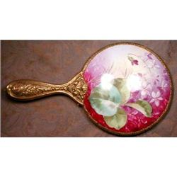 VANITY Mirror VIOLETS Hand PAINTED -Antique- #2380101