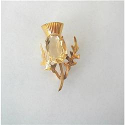"""40's~ENGLISH Y GOLD & CITRINE """"Thistle"""" PIN #2380118"""