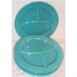 Four Vintage Turquoise Fiesta Compartment Plate#2380125