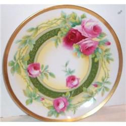 Hand Painted Coronet Limoges Red Roses Plate #2380129
