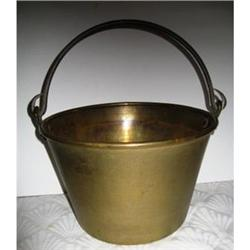 Vintage Brass Bucket with Cast Iron Handle #2380131
