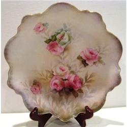 RS Prussia Rose Decorated Scalloped Plate #2380139