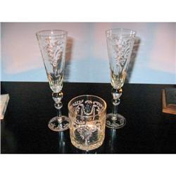 Etched Crystal Champagne Flutes & Thumbler! #2380238