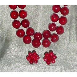 Luicte Red  Necklace& Earrings #2380430