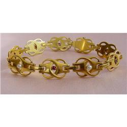 Arts & Crafts 18K Ruby and Pearl Bracelet #2378557