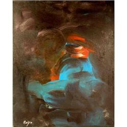 Modern Contemporary Painting- Teal and Black  #2378570