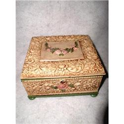 Jewelry Box Painted Quadruple Plate 19thC #2378617