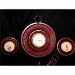 3 Piece Clock Set Sessions Tole Painted C.1930 #2378625