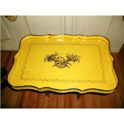 Metal Tole Tray Yellow Black France C.1920-30 #2378637
