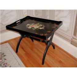 Tole Tray Table C.1920 Large Wooden #2378638
