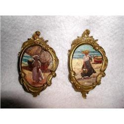 Oil Paintings On Wood Bronze Frames 19th C #2378653