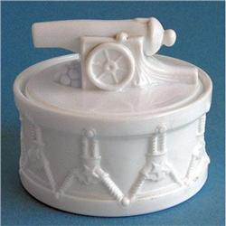PORTIEUX Milk Glass Toy Cannon on Drum #2378885