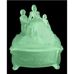 Martha Washington Green Satin Glass Powder Jar #2378909