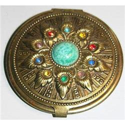 Egyptian Revival Brass & Glass Jeweled Compact #2378912