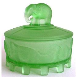 CAROUSEL ELEPHANTS Green Satin Glass Powder Jar#2378914