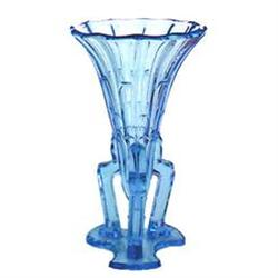 Ice Blue Pressed Glass Art Deco ROCKET Vase #2378919