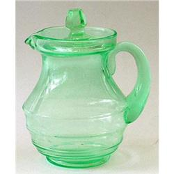 Green Depression Glass Covered Syrup Pitcher #2378920