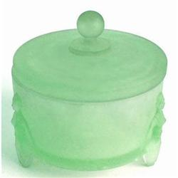FLAPPERS Green Satin Glass Art Deco Powder Jar #2378921
