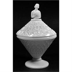 LILLIAN VII Milk Glass Art Deco Powder Jar #2378922