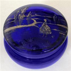 Silver Mary Gregory Cobalt Blue Powder Jar #2378936