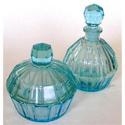Ice Blue Panel Optic Glass Bottle & Jar Set #2378937