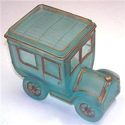 Portieux Blue Satin Glass Motor Car Powder Jar #2378940