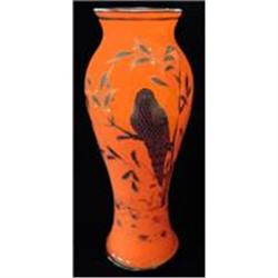 Orange & Black Decorated Tango Glass Vase #2378943