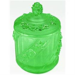 Walther ROSEN Green Pressed Glass Condiment Jar#2378944