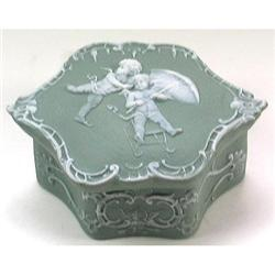 Schafer & Vater Skating Cherubs Powder Jar #2378948