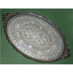 Ornate Brass, Glass and Lace Dresser Tray #2378958