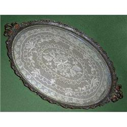 Ornate Brass, Glass and Lace Vanity Tray #2378965