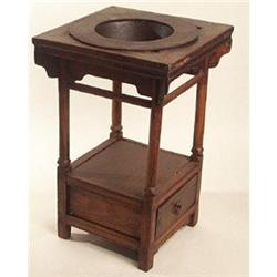 ANTIQUE WOOD FIRE PIT TABLE W IRON BOWL #2379076