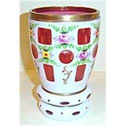 Bohemian Cranberry Overlay Vase Floral Panel #2379086