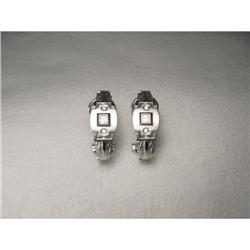 Estate 14K WG Gold Diamond Cable Wire Earrings #2379264