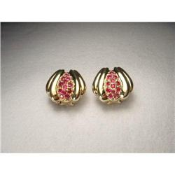 Estate 14K YG Yellow Gold Pave Ruby Earrings #2379273