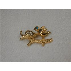14K Turquoise Seed Pearl Bird Nest Pin Brooch #2379294