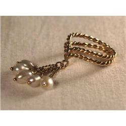 Estate 14K YG Gold Seed Pearl Charm Band Ring #2379303