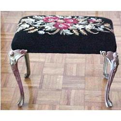 Art Deco needlepoint bench figural legs #2379306
