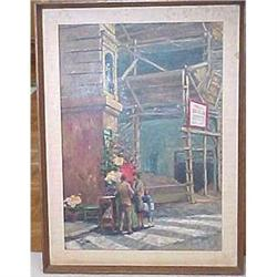 Painting of a flower vender signed Raleigh #2379308