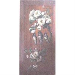 Hand painted wood panel with birds & roses #2379311