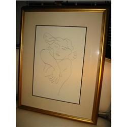 Drawing of a woman Black on White Giltwood #2379331