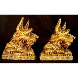 Pair of  Antique Wood Terrier Bookends #2379554