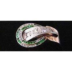 18K Gold Retro Ring with Diamonds and Emeralds #2379562