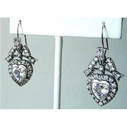 """Pair of Antique Sterling & Paste """"Heart"""" #2379576"""