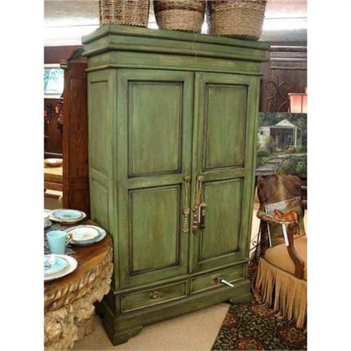 - ANTIQUE GREEN SHABBY ARMOIRE CABINET CUPBOARD #2372753