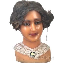Wax Manequin Ladies Display Head w/ Glass Eyes