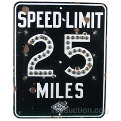 CSAA (AAA) 25 MPH Porcelain Sign w/ Jewels 24 x30