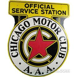 Chicago Motor Club Official Service Station Aaa Sign