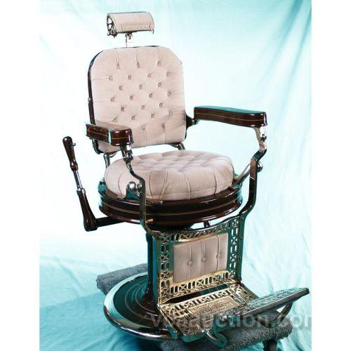 Restored kochs porcelain and brass antique barber chair for Sillas para barberia