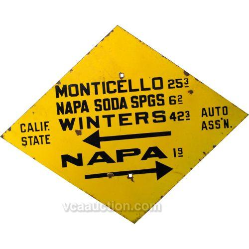 CSAA Early Diamond Shaped Porcelain Road Sign, Monticel